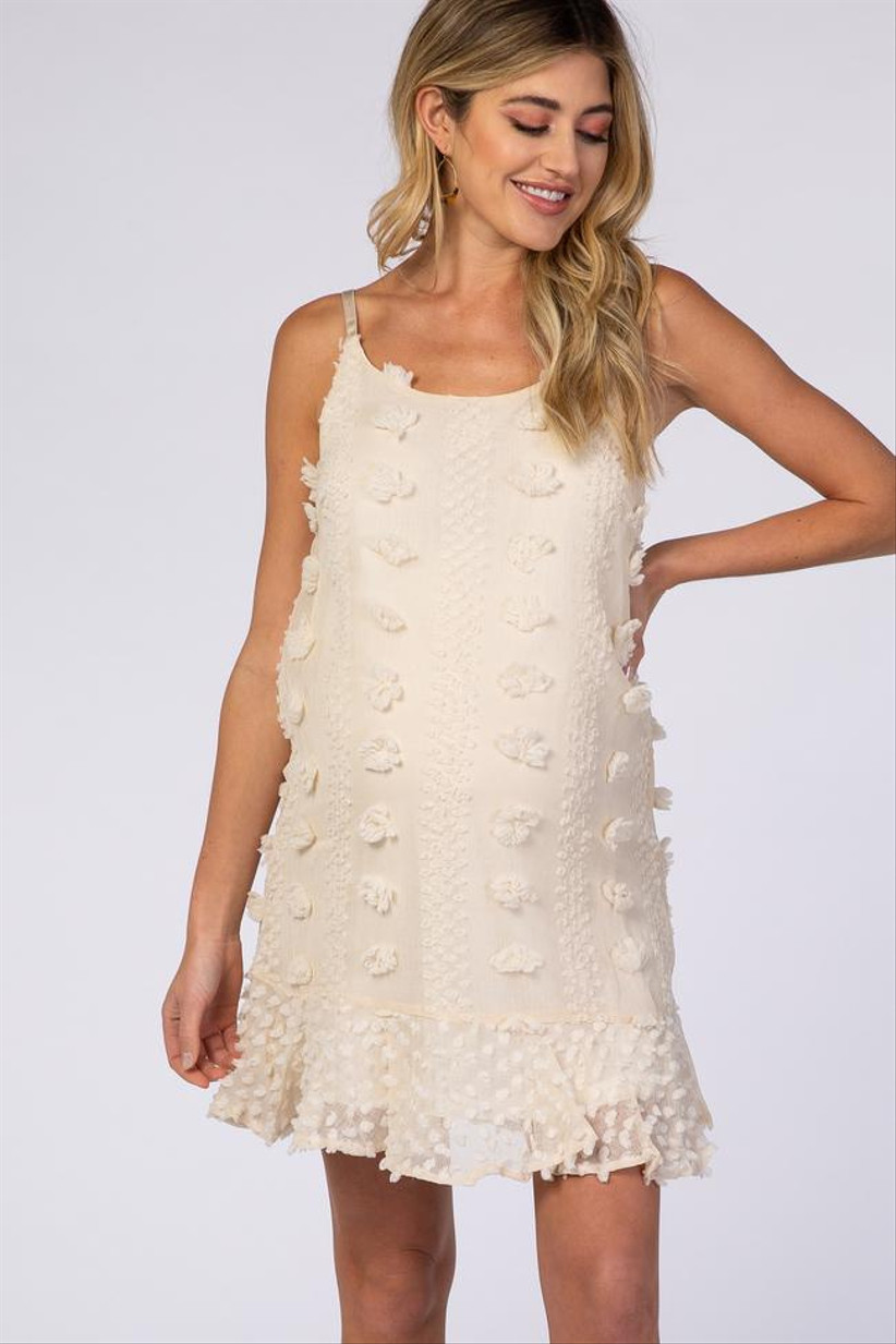 White short strappy maternity wedding dress with raised polka dots