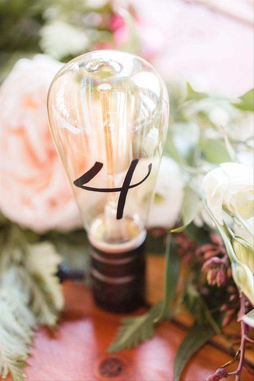Light bulb wedding table number