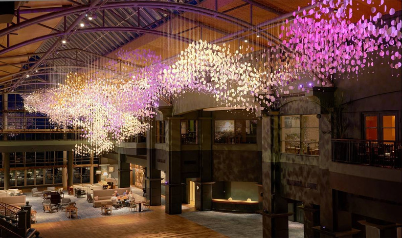 Wedding venue hall with contemporary lighting