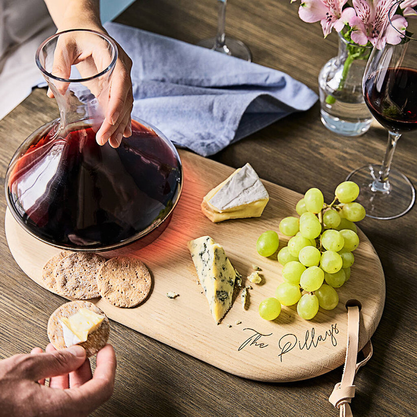 wine carafe and cheese board