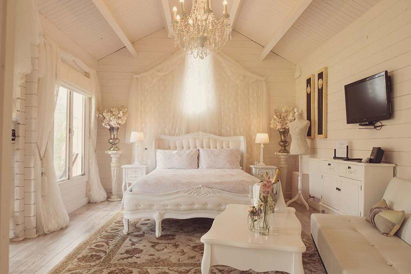 White bridal suite at Marleybrook House