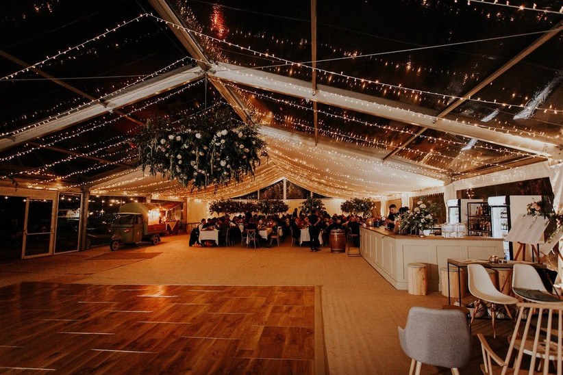 Fairy light covered wedding marquee
