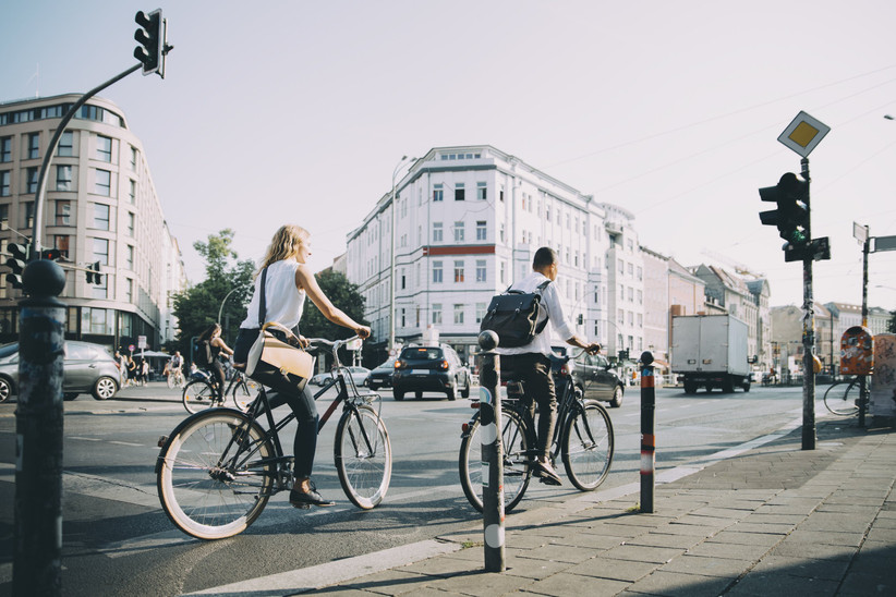 Couples cycling through Berlin