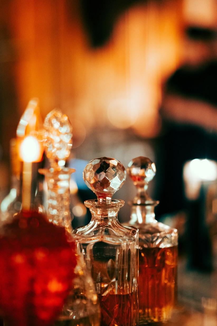 Chunky crystal flacons of amber coloured perfume