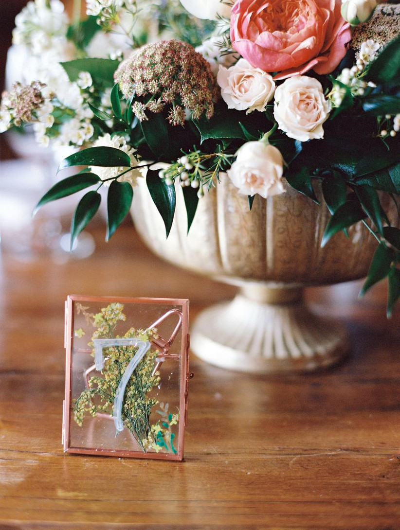 Dried flower frame wedding table number