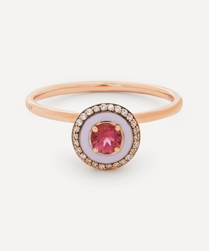 Pink and rose gold engagement ring