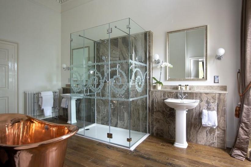 Stylish bathroom with copper bath