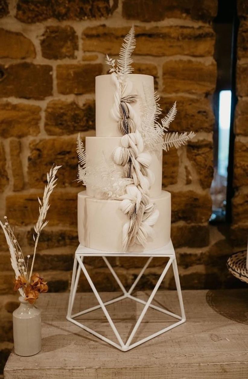 White geometric wedding cake stand