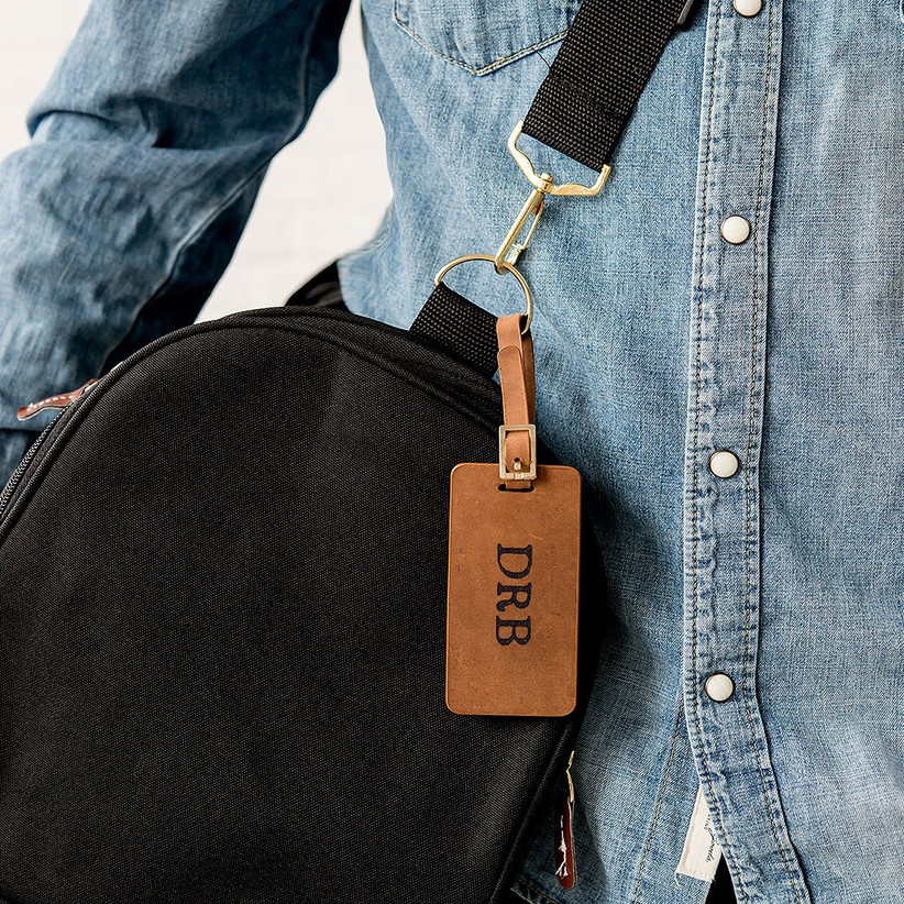 Tanned leather personalised luggage tag