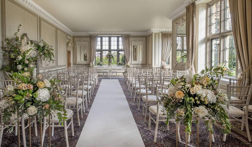 White floral wedding ceremony