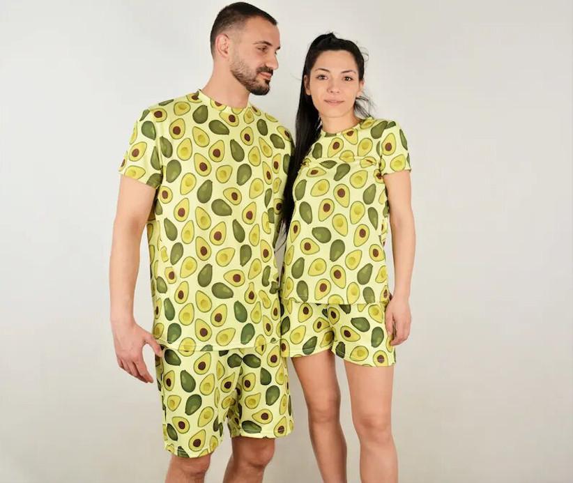 Couple wearing avocado pyjamas