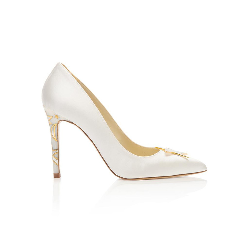 Star heeled white wedding shoes