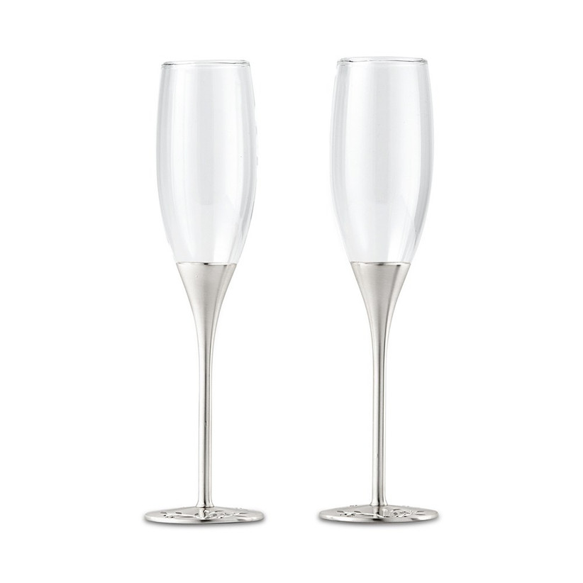 Silver crystal champagne flutes