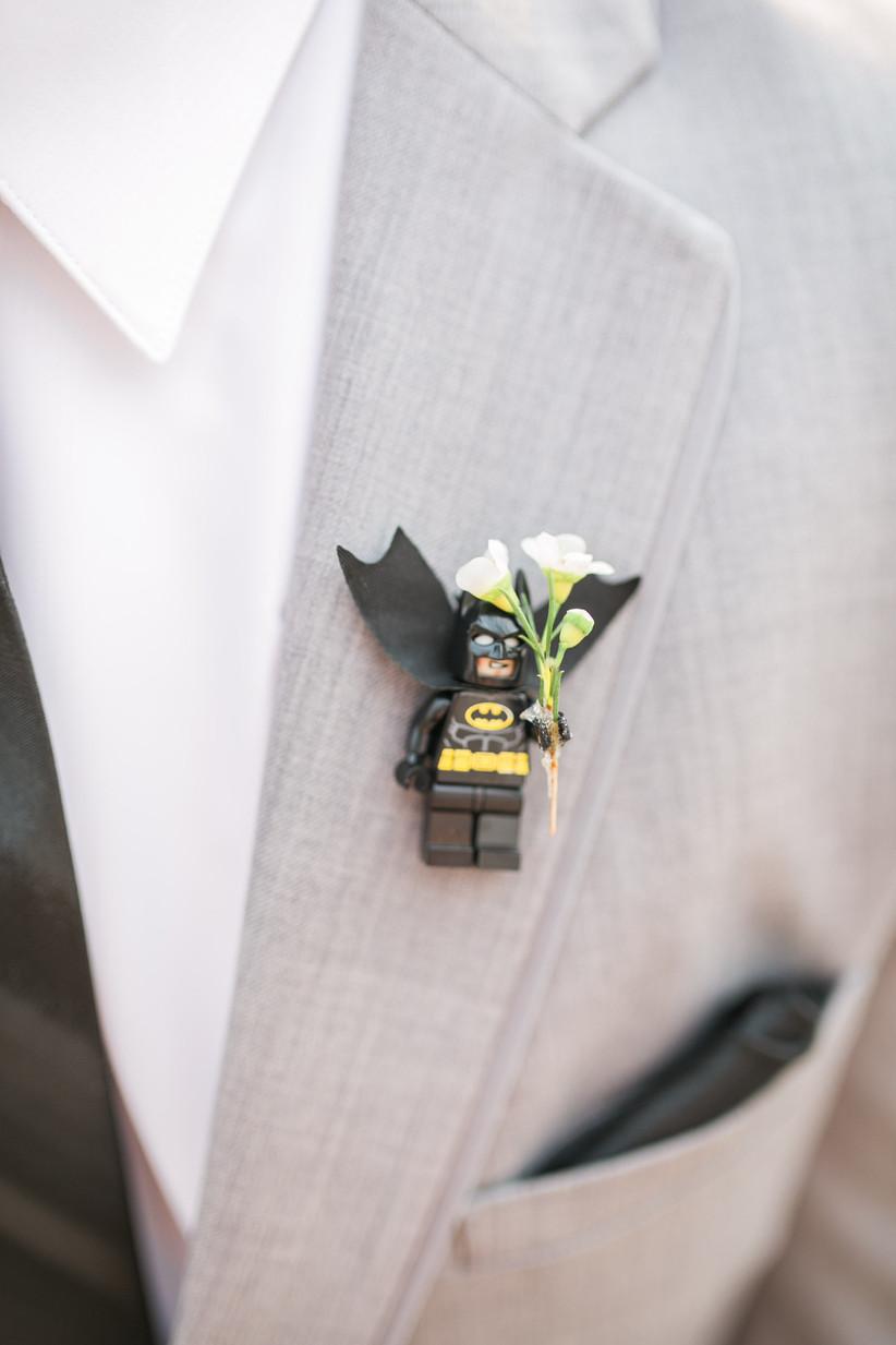 Groom wearing a Lego wedding buttonhole