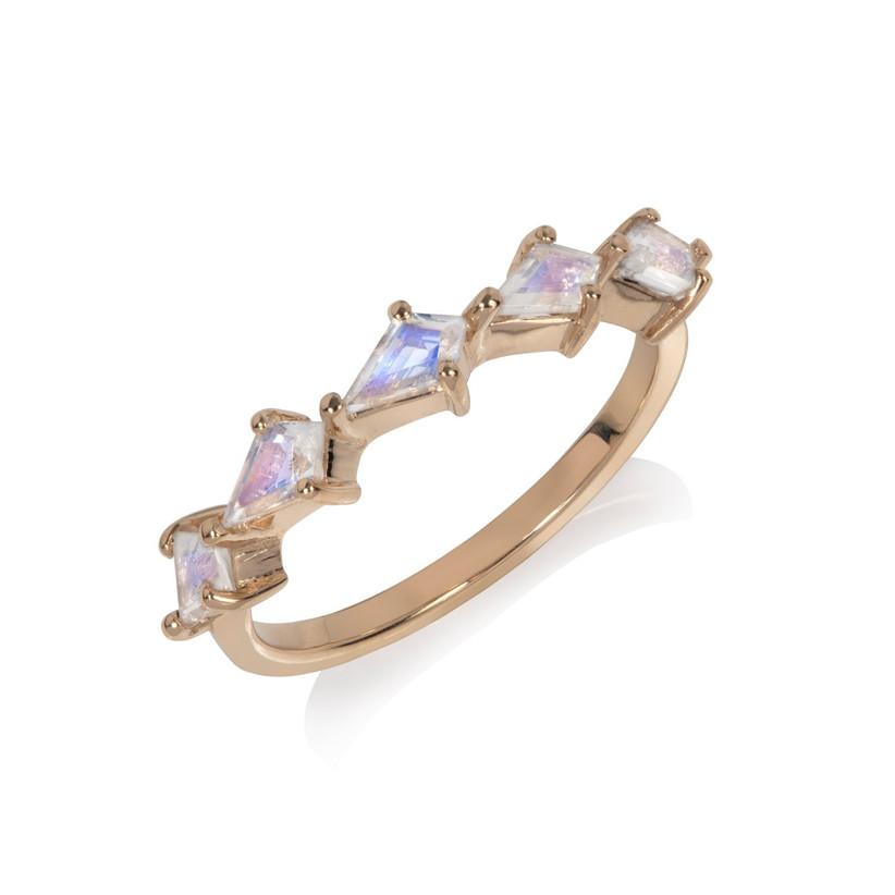 Multiple moonstone engagement ring
