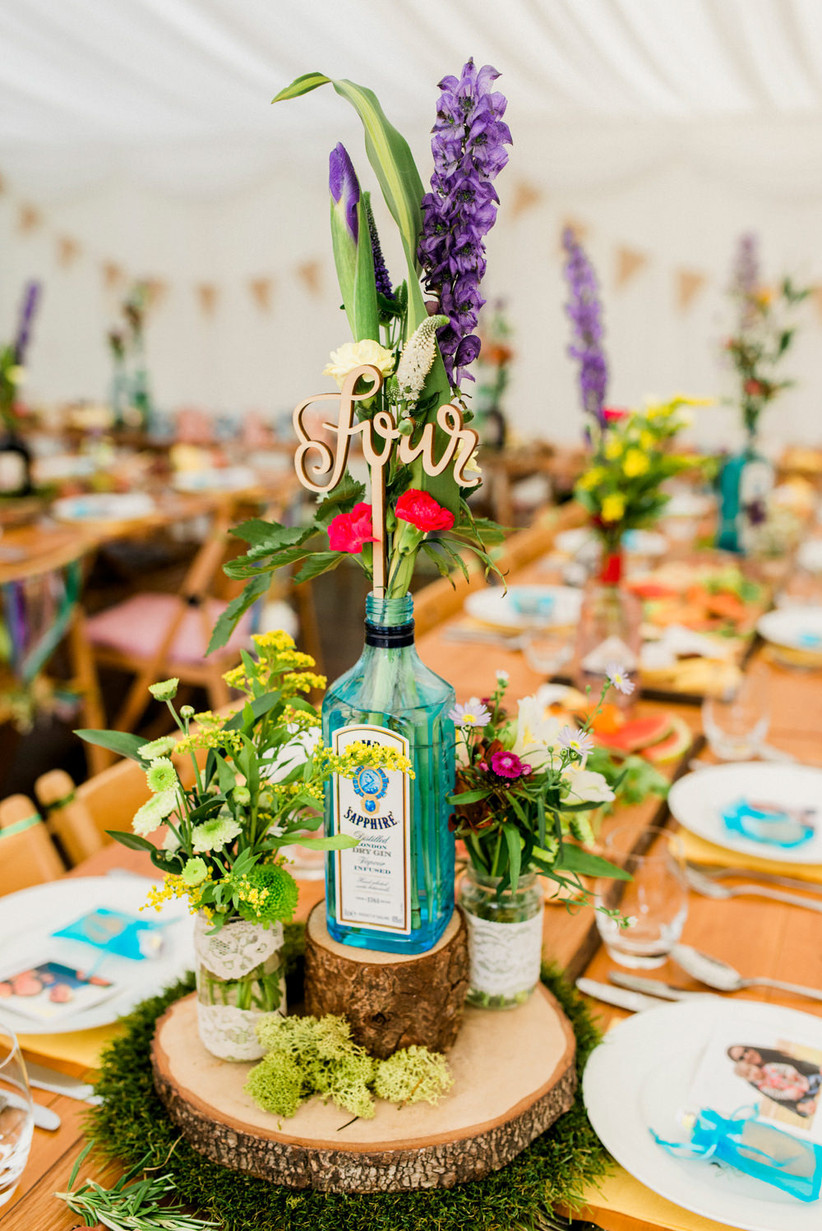 Gin bottle wedding table number
