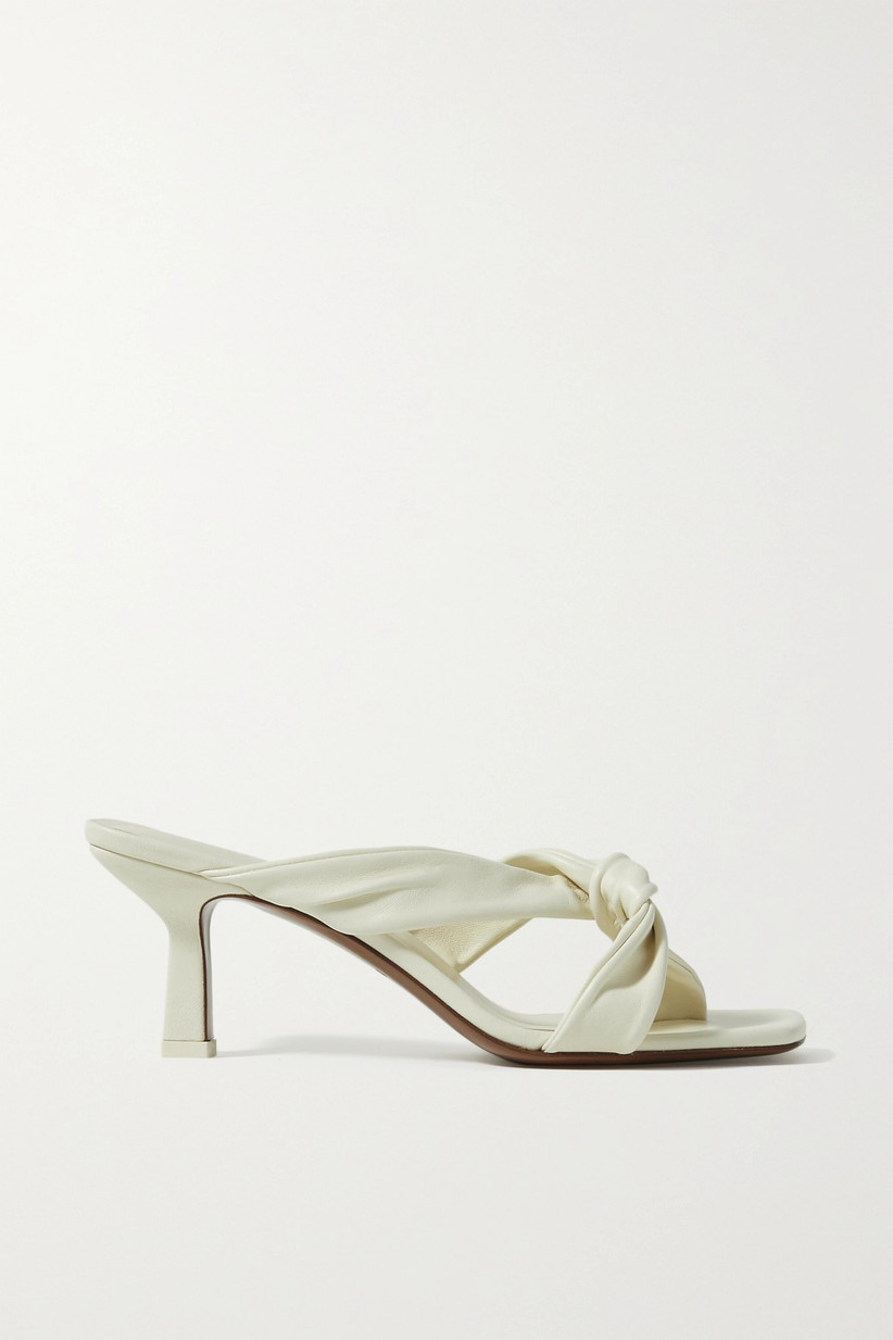 White leather knotted wedding mules