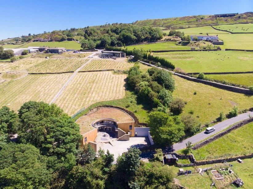 Bird's eye view of a vineyard wedding venue