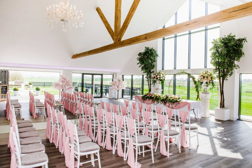 Ceremony at lancashire wedding venue the glass house at staining lodge