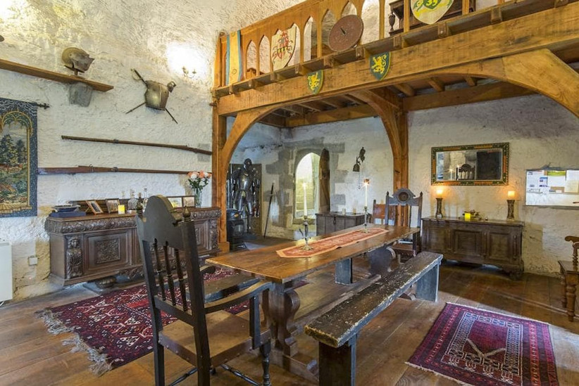 Historic dining room with wooden details and gothic décor