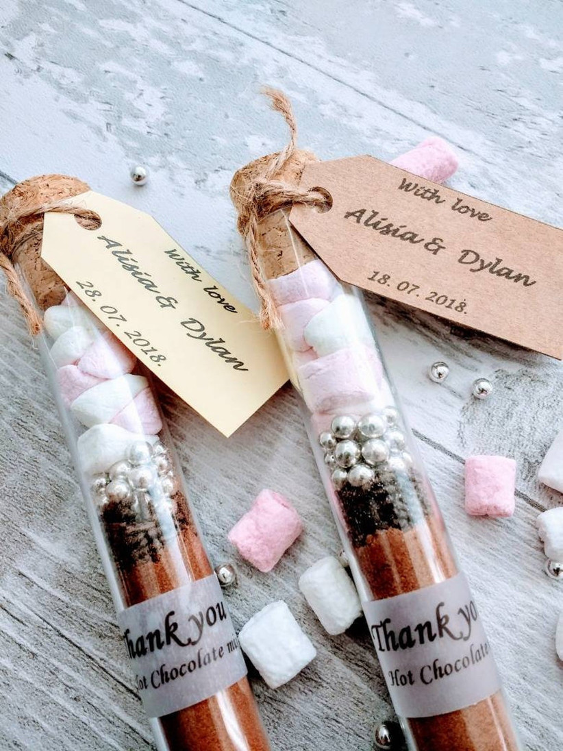 Hot chocolate and marshmallows in a tube wedding favour