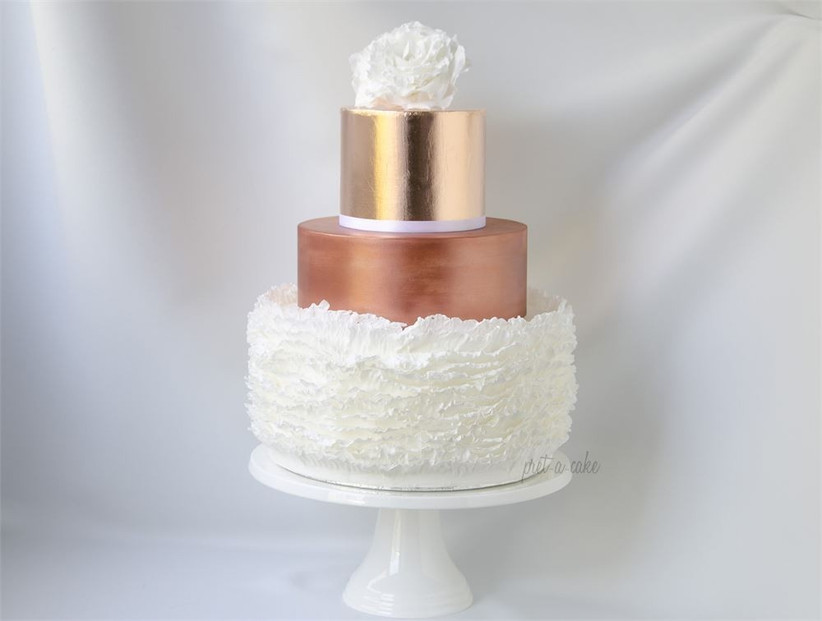 rose-gold-wedding-cake-with-ruffled-layer