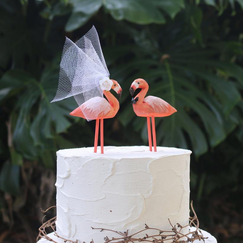 Flamingo in a veil wedding cake topper
