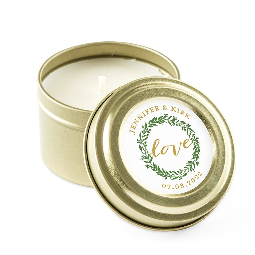 Gold tin candle with love wreath personalised sticker