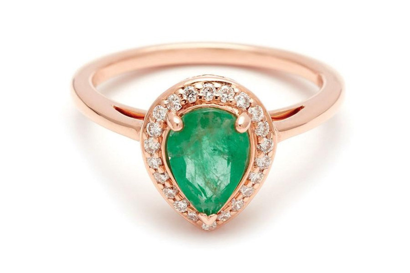 emerald pear engagement ring
