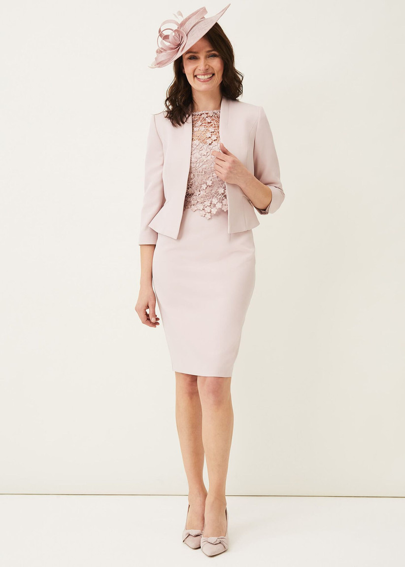 Pink dress with lace bodice and matching pink jacket