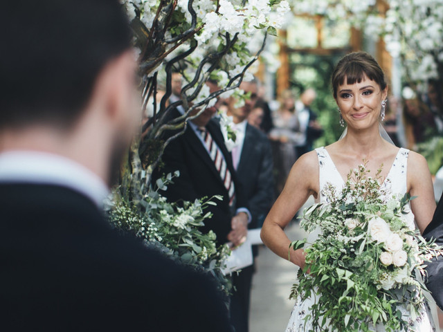 A Floral Valentini Spose Gown for a Beautiful Botanical Glasshouse Wedding at Kew Gardens