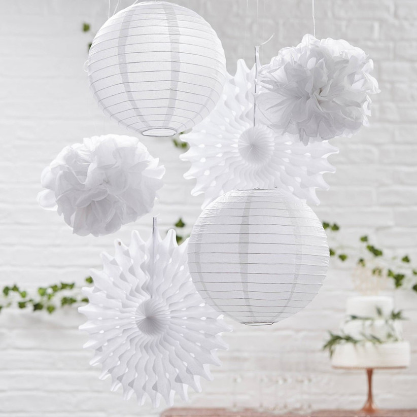 white-paper-lanterns-and-pom-poms