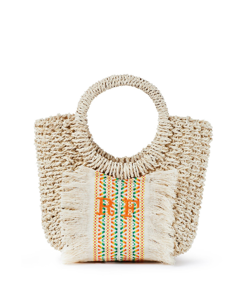 Monogrammed raffia handbag with a rainbow printed panel in the centre and tassled edges