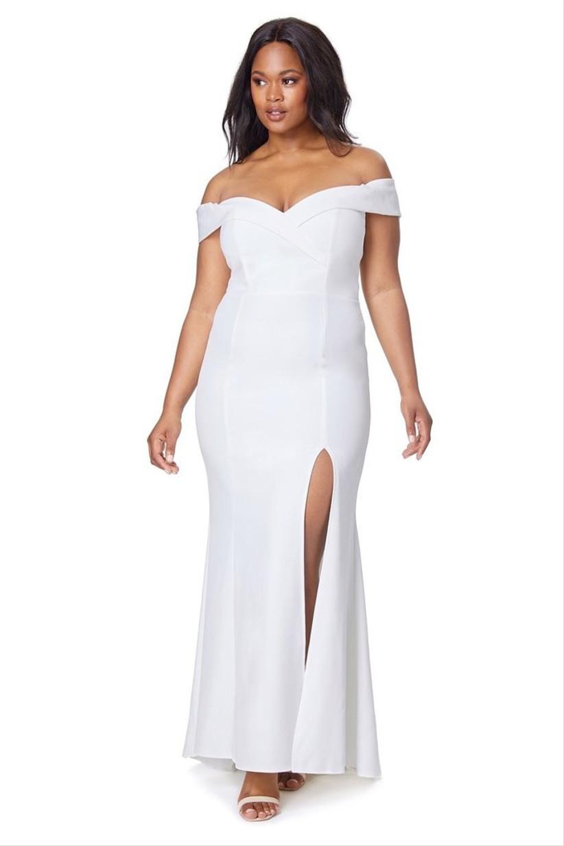 Girl wearing a Bardot white wedding dress