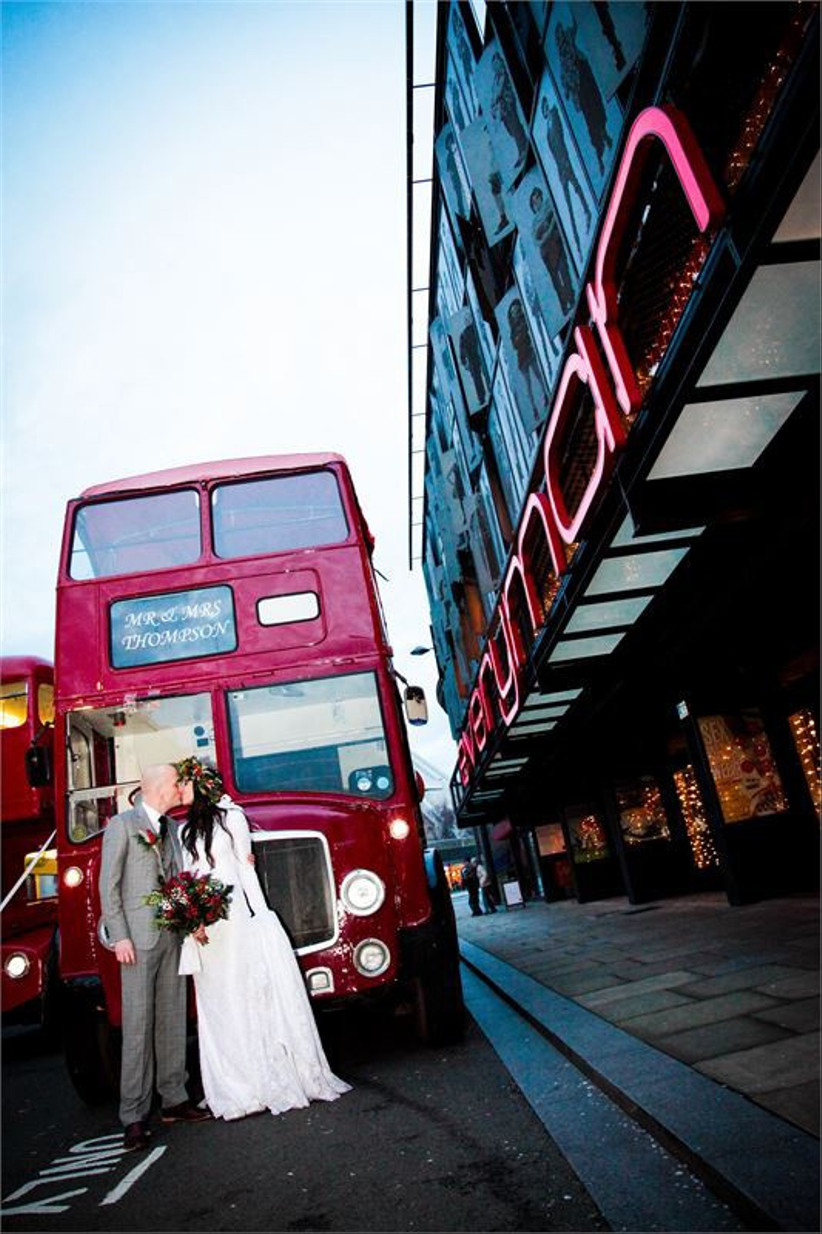 red-wedding-bus-outside-the-everyman-theatre