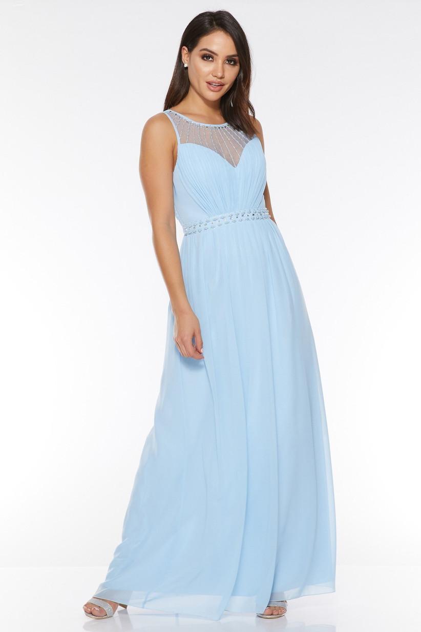 Quiz pale-blue-chiffon-high-neck-maxi-dress