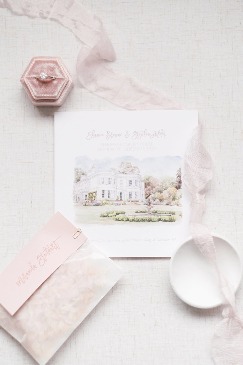 Wedding invitations with an illustration of Deer Park Country House