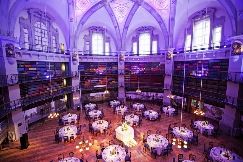 The book-lined Octagon at Queen Mary University