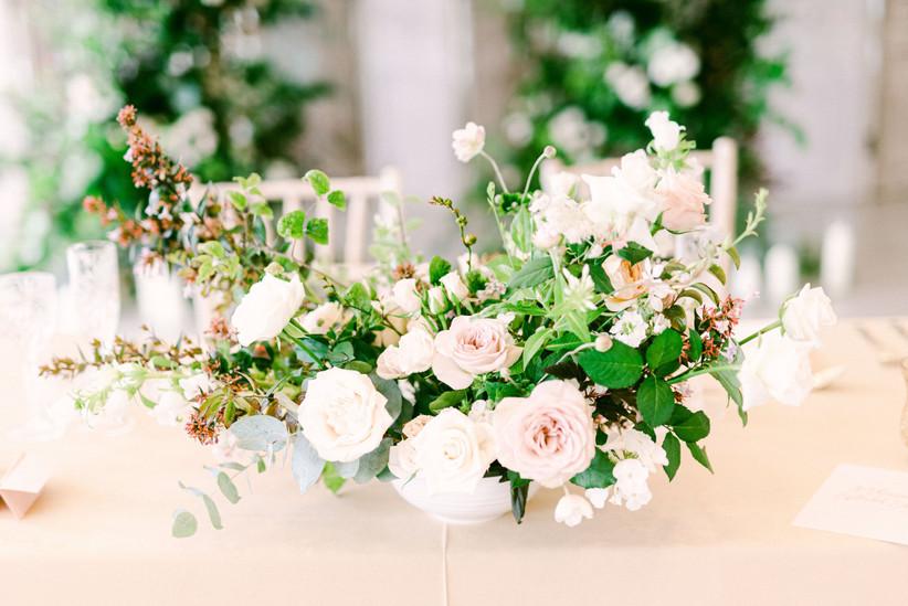 Wedding flower arrangement in close up