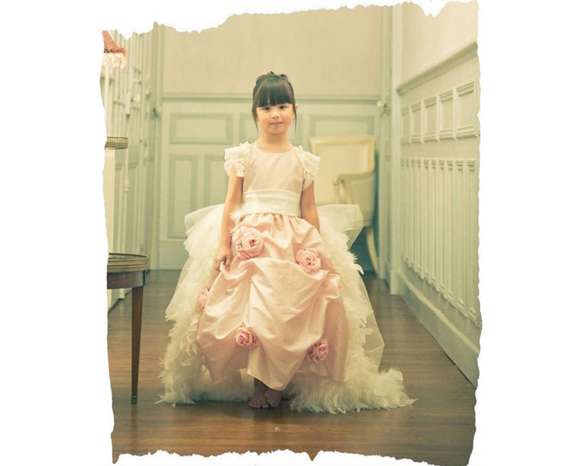 pink-and-white-feathered-flower-girl-dress