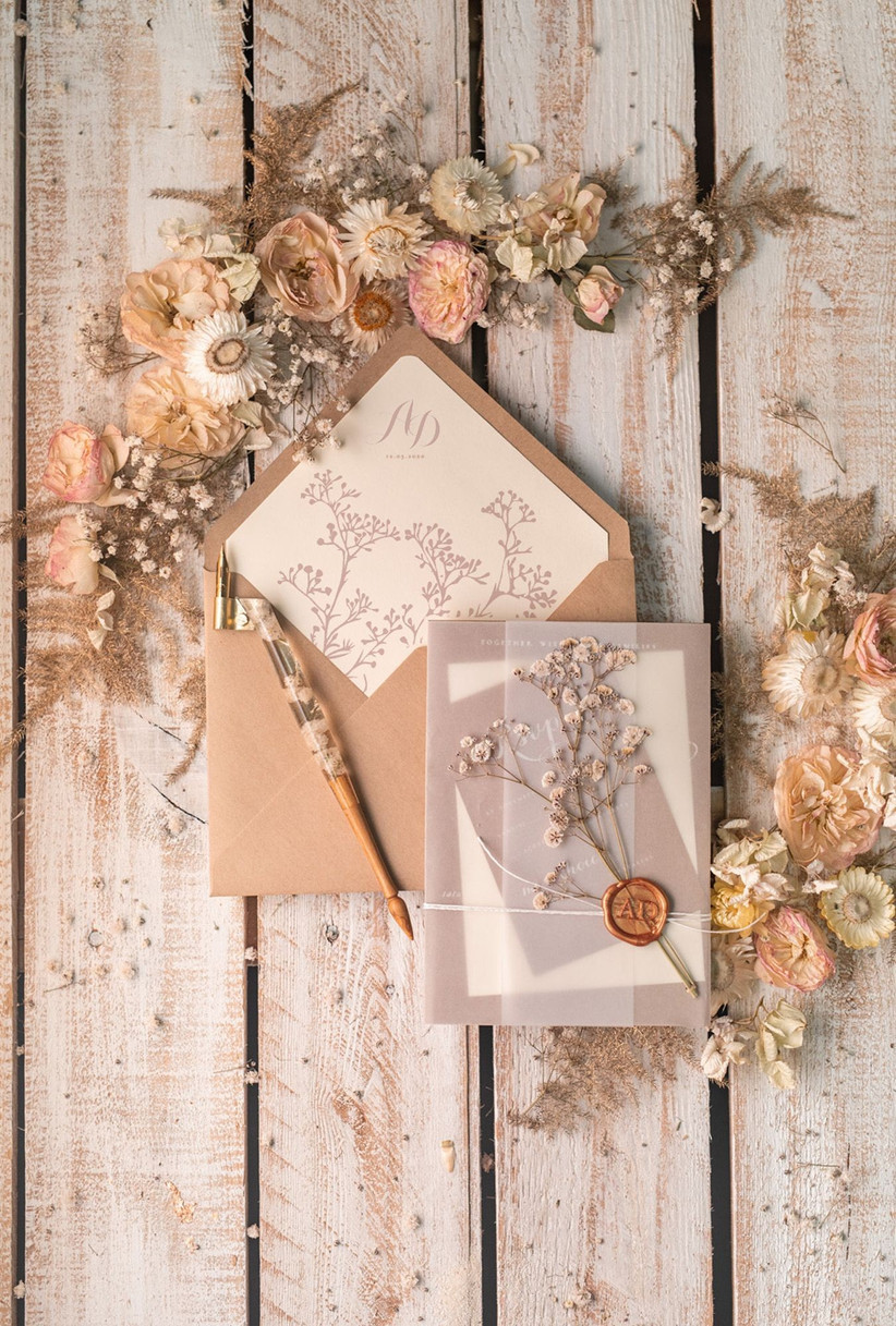 Real Flower Wedding Invitations