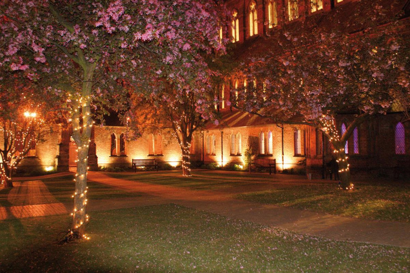 The garden at night at Manchester wedding venue The Monastery
