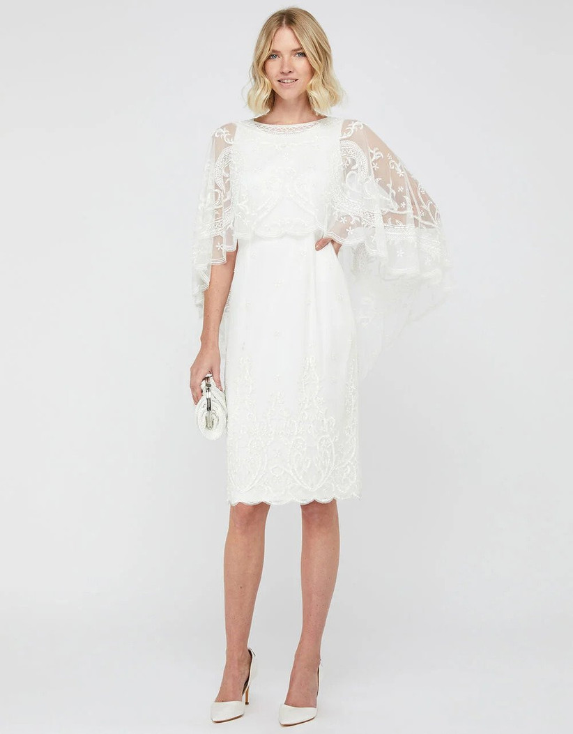 Monsoon wedding dress for older brides in ivory with lace cape
