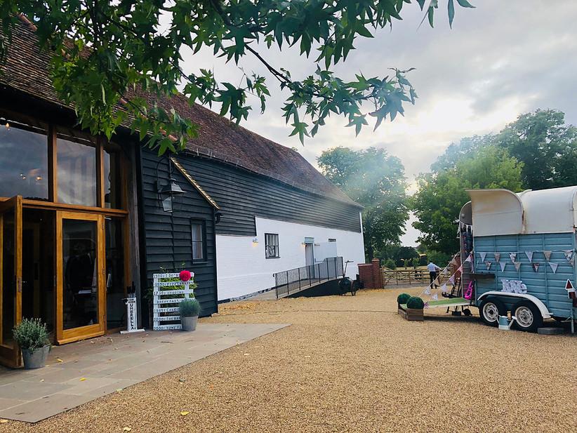 Exterior of Hertfordshire wedding venue barn at alswick