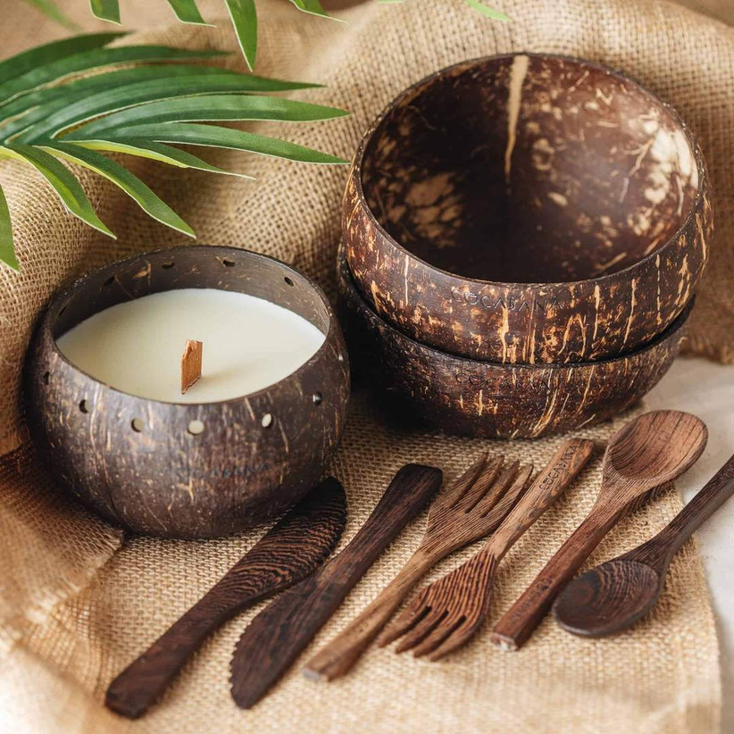 Coconut candle, cutlery and bowls