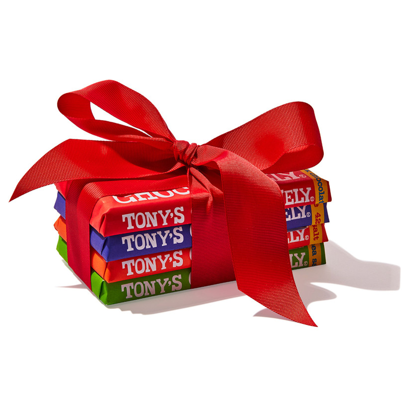 red bow gift wrapped chocolates