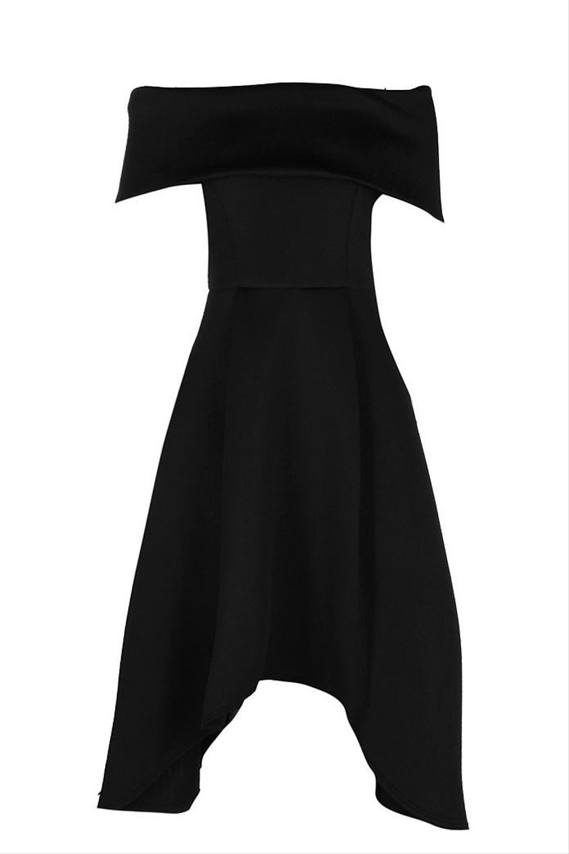 Dip hem black bridesmaid dress