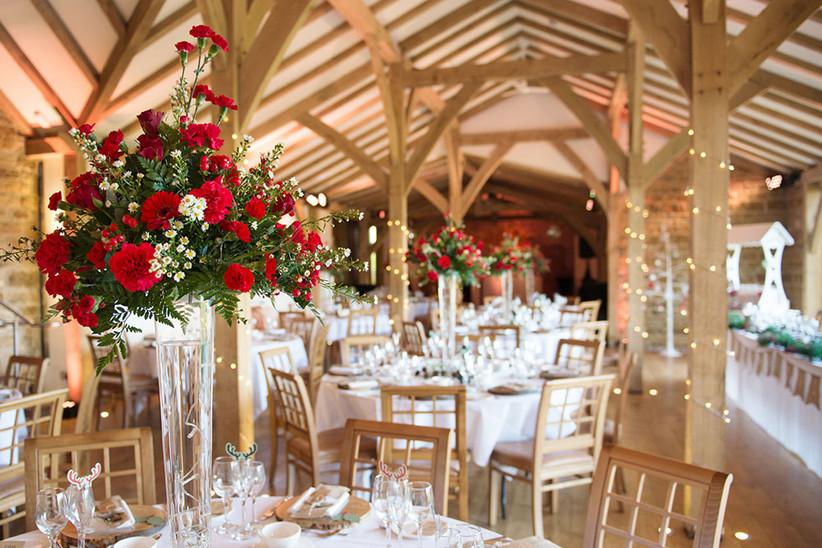Interior of the barn at Northamptonshire wedding venue Dodford Manor