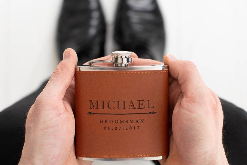8. wedding thank you gifts Personalised Groomsmen Hip Flask by DUST AND THINGS NOTHS