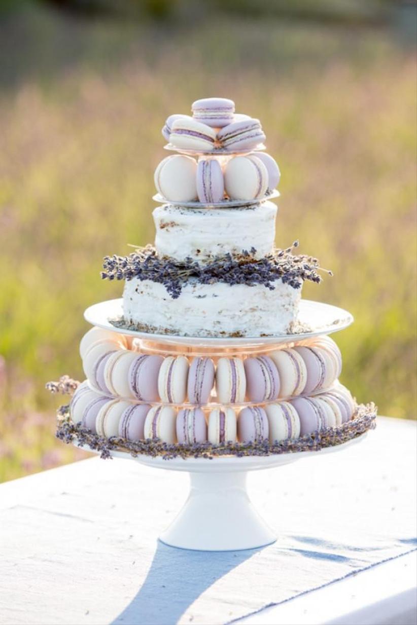 lavender macaron wedding cake
